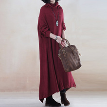 2016 new women's Spring and autumn winter turtleneck plus size solid color full dress loose sweater