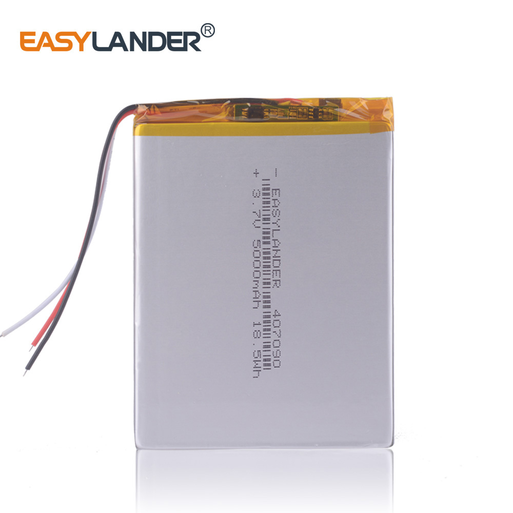 3.7V 5000mAh 407090 Polymer Lithium Ion Battery Rechargeable Batteries For Tablet Pc 7 Inch Tablet PC 3wires