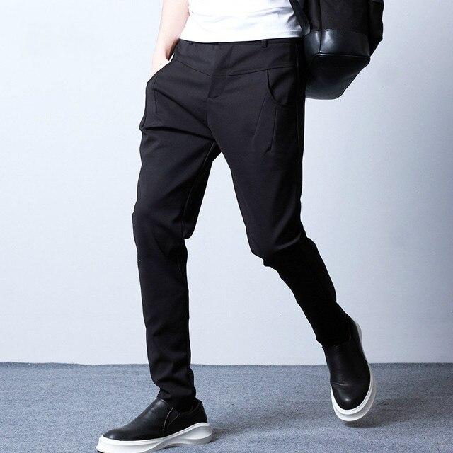 Новые мужские Slim Fit Повседневные брюки Деловой Костюм Брюки высокой качество Cool Мужчины Хип-Хоп Панк Шаровары Брюки Черный 8015