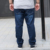 PLUS SIZE Homens Soltos Cintura Elástica Completa Calças Cor Sólida Casuais 36-50 Tamanho de Algodão Confortáveis Jeans de Marca Nova chegada NZK1324