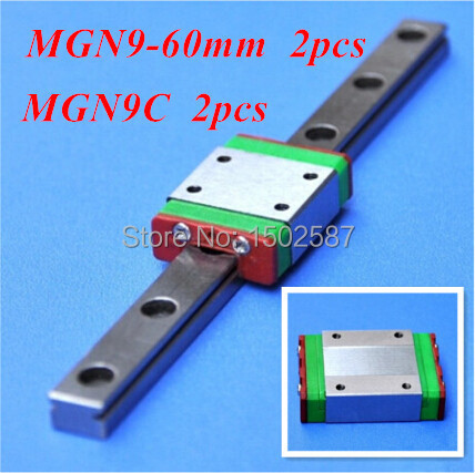 2pcs MGN9 9mm Linear Rail Slide MGN9 L- 60mm long Rail + 2pcs MGN9C Carriage /Guide Block CNC Parts XYZ Axis2pcs MGN9 9mm Linear Rail Slide MGN9 L- 60mm long Rail + 2pcs MGN9C Carriage /Guide Block CNC Parts XYZ Axis