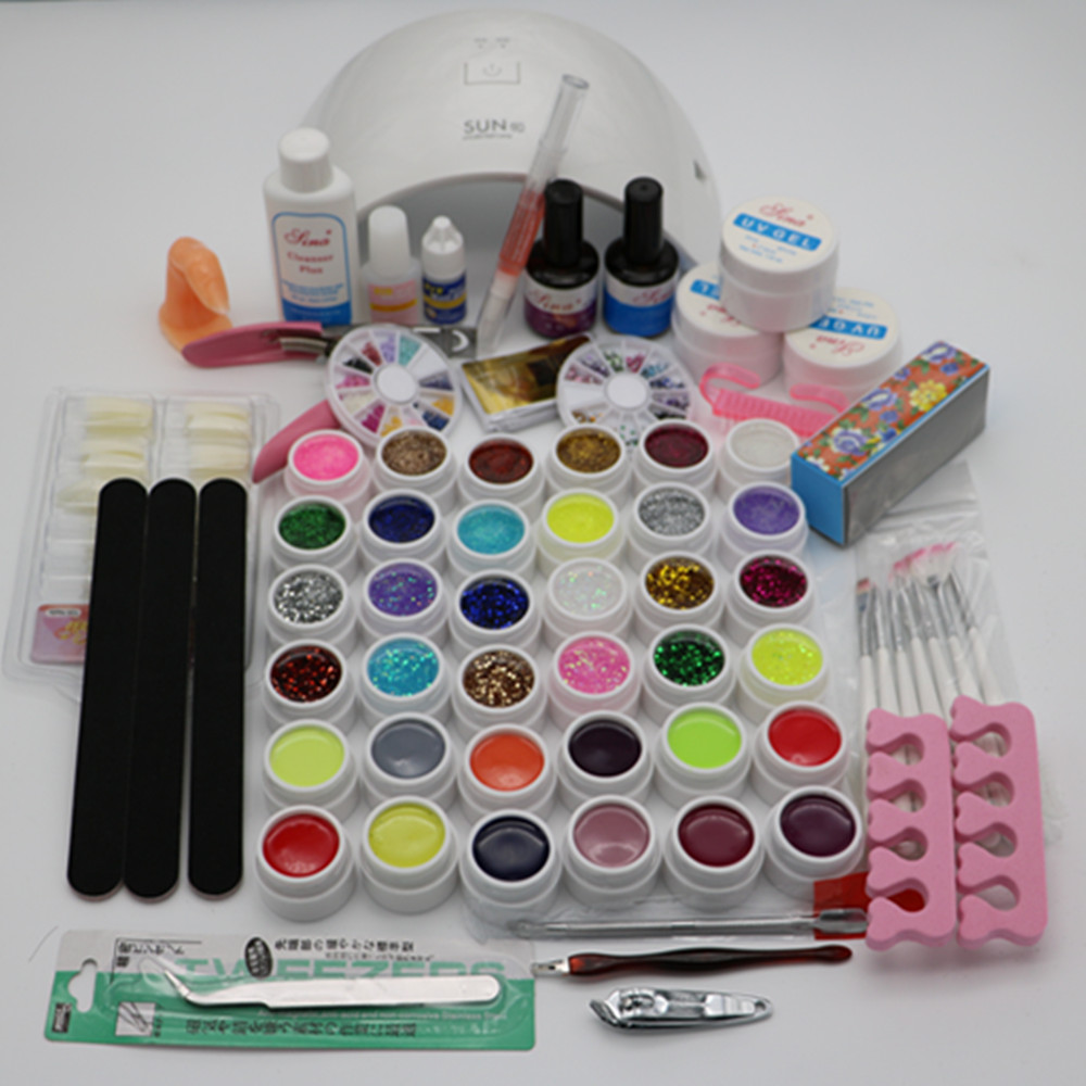 SUN9C Nail Sets 24W Led  White Lamp  UV GEL polish with 36 Color UV Gel Nail Art Tools Set Kit 14ML Top coat & Base coat TP127 cnhids in 24w professional 9c uv led lamp of resurrection nail tools and portable package five 10 ml soaked gel nail polish