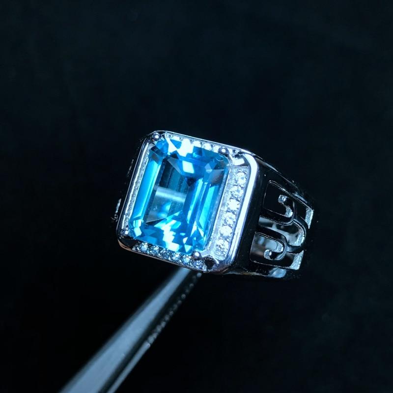 Natural Topaz Men's Ring, 925 Silver, Exquisite Craftsmanship, Classic Square Gems, Beautiful Colors