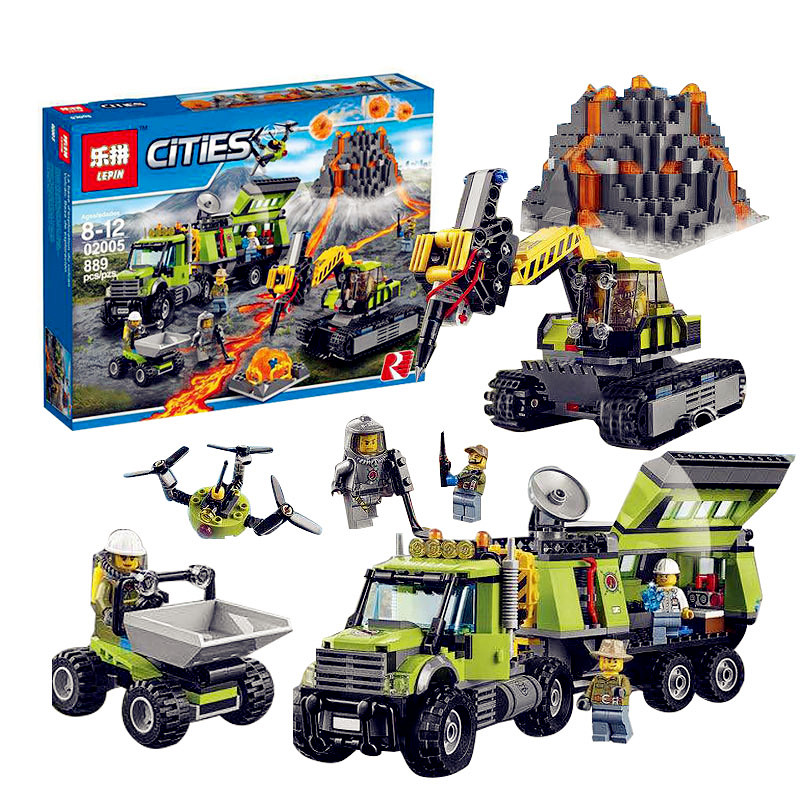 PRESELL Lepin 02005 889Pcs City Series The Volcano Exploration Base Set Children Educational Building Blocks Bricks Boy Toys lepin 02005 volcano exploration base building bricks toys for children game model car gift compatible with decool 60124