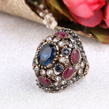 2019 NEW Women's Rings Colorful Resin Old Gold Turkey Design Luxury Party Ring Large Finger Ring Vintage Jewelry Gulkina Brand brand design lock red heart ring for women vintage copper jewelry five star finger rings luxury brand fashion love jewelry