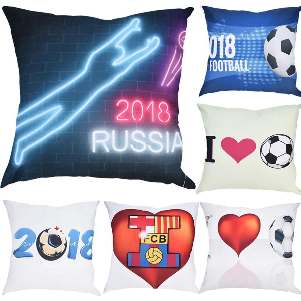 Football Print Cushion Cover 45x45cm Throw Pillows Case Sofa Pillow Cover Decorative Pillowcase Home Decoration funda cojin