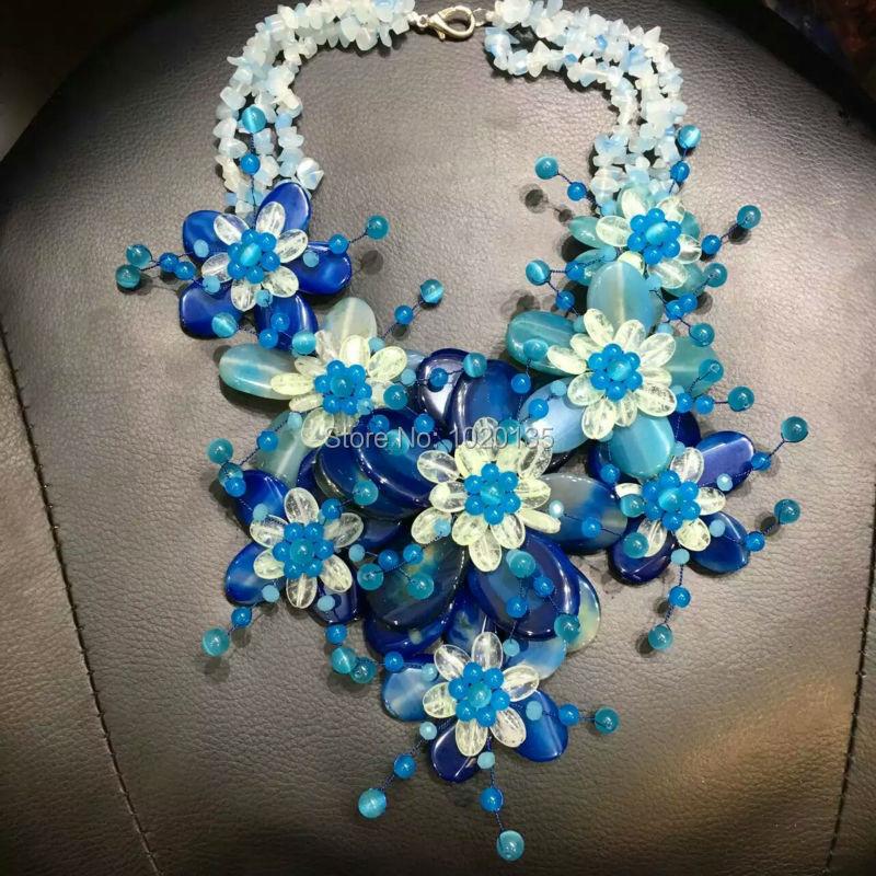 WOW!  BLUE AGAT QUARTZ FLOWER MIX-COLORS SHAPE 20inch NECKLACE  nature wholesale beads DROP