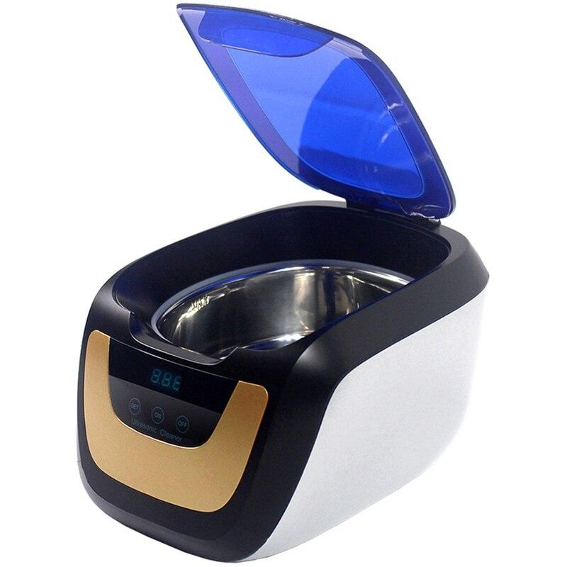 Ménage numérique nettoyeur à ultrasons bain or argent Cd bijoux prothèse dentaire montre tête de rasoir ultrasons minuterie réservoir 0.75L 50W-Eu