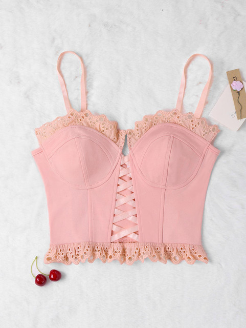 5a32df2da4 STYLE Women Stitched Edges Openwork Bustier Tank Top Sweet Pink Lace  Bandage Halter Strap Cropped Top Beach Summer Camis New