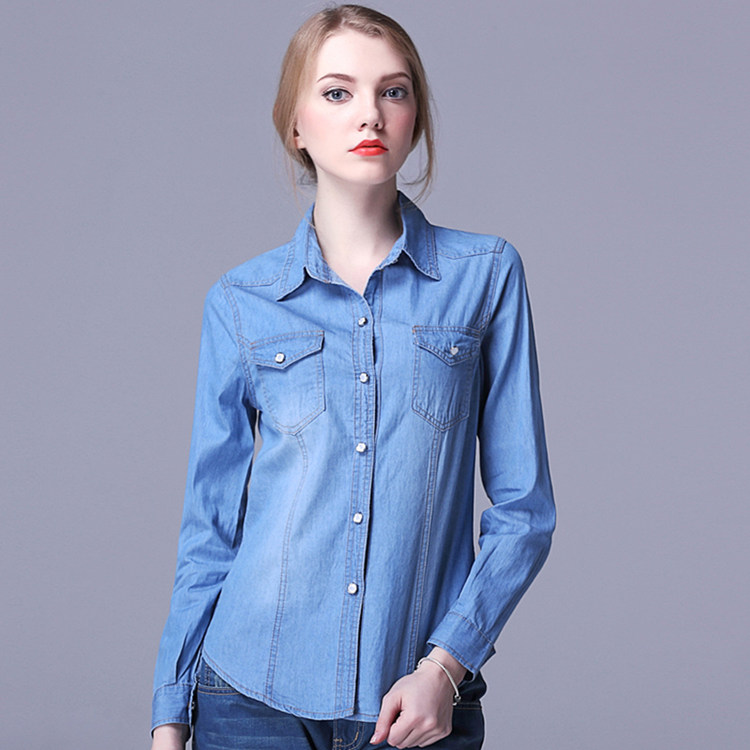 f73edc0a7c9 New Denim Shirt Women Long Sleeve Turn-Down Collar Blouse Women Jeans Female  Blue Jean Shirt Fashion Female Clothes outerwear