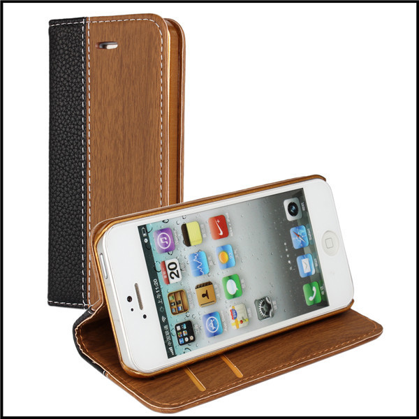 Splicing Pattern PU Leather Case Cover For iPhone 5 5S with Card Slots & Stand TV Function 5 kinds + Free Screen Protector