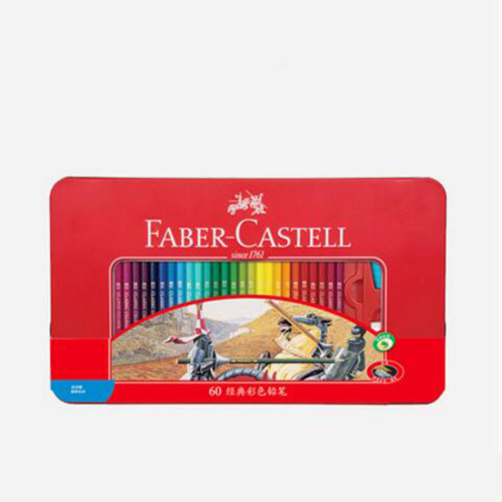 Free shipping oily color pencil hand-painted color art design classic red tin box 48 60 color lapis de cor faber castell/W16029 quelle heine 107374