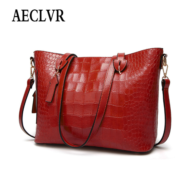 AECLVR Solid Color Lager Capacity Casual Totes Alligator Pu Leather Women Crossbody Bags Solid Color Female Simple Style Handbag