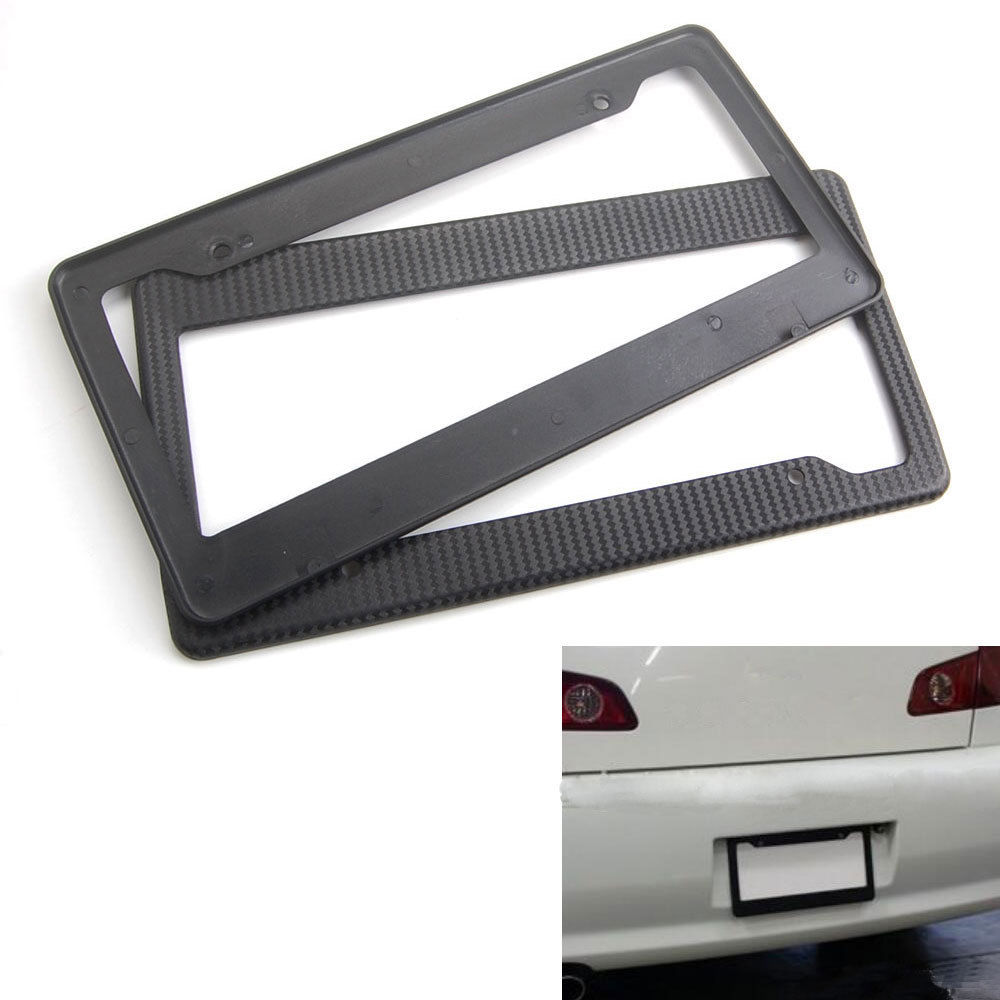 2x Carbon Fiber Painted ABS Car License Plate Frame Tag