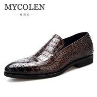 Mycolen 2018 крокодил Для Мужчин's Бизнес Обувь платье бренда острый носок Бизнес Классический джентльмен кожа мужская обувь Zapato Hombre