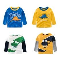 CALOFE/Детская футболка с милым рисунком из мультфильма весенне-осенняя хлопковая одежда с длинными рукавами для мальчиков повседневная детская футболка