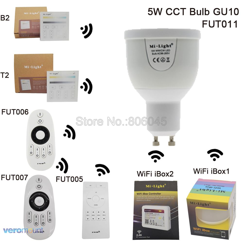 AC85-265V 2.4G Mi.light GU10 5W Color Temperature Adjustable Dual White(CW/WW) CCT LED Bulb Lamp Wifi Compatible for Android/iOS