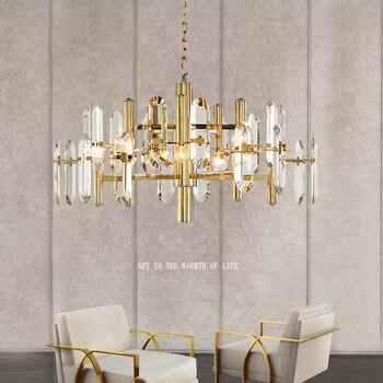 Candelabros de cristal de diseño breve, luz LED moderna, luz de oro, cristal, sala de estar