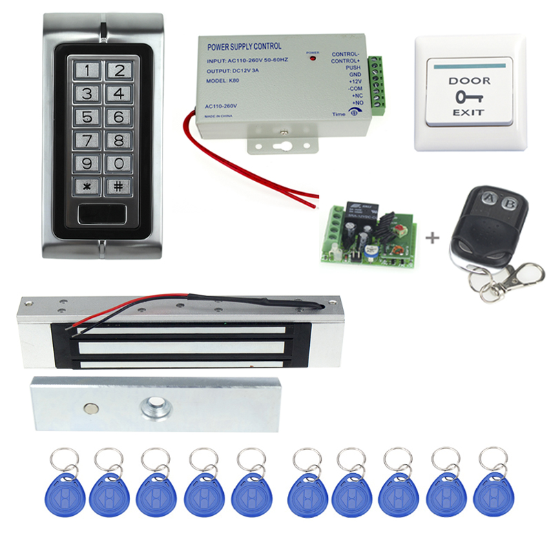 Free shipping full access control K2+power supply+electronic magnetic lock+door exit buttonl+keyfobs+wireless remote control