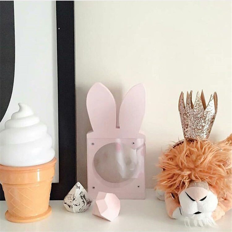 Cute Pink Rabbit Piggy Bank Children's Room Decor Wood  Money Box The Kid Love  Christmas Newyear Gifts Toys