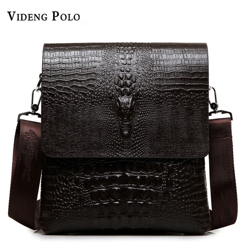 2017 NEW Vertical high quality leather men bag business casual alligator small shoulder bag Messenger bag crocodile grain bag high quality casual men bag