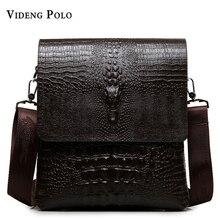 2017 NEW Vertical high quality leather men bag business casual alligator small shoulder bag Messenger bag crocodile grain bag