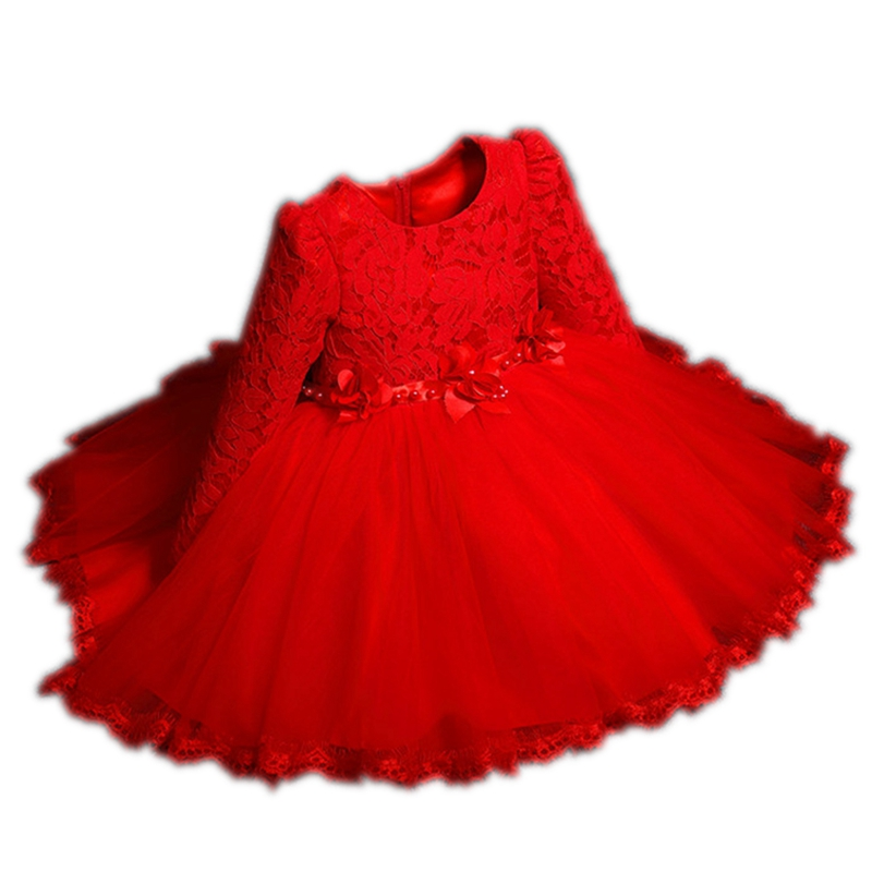 Girl Red Pink White Lace Flower Princess bowknot F Dress With Vintage Floral Top Winter Autumn Party Wedding Dresses Girls