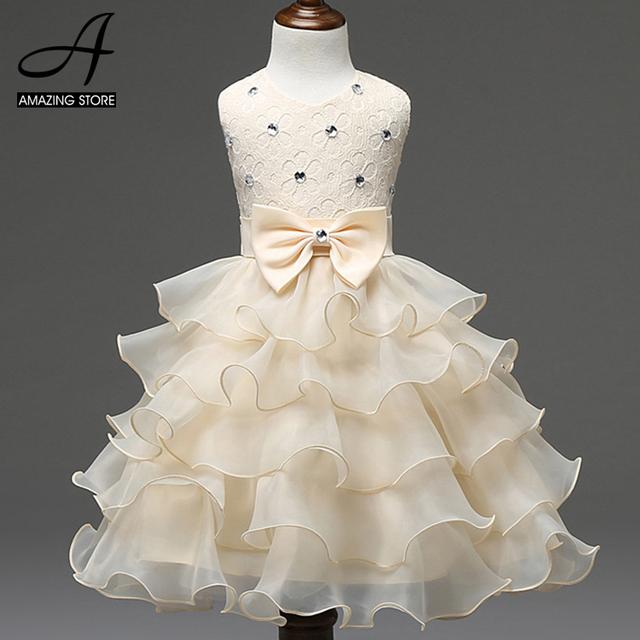 Vestido en capas con cuentas de la boda vestidos de niña pequeña ropa de las muchachas de dama de honor vestidos de sweet princess tutu vestido princesa
