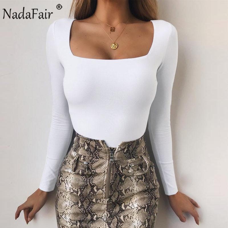 Nadafair Women Bodysuit Square Collar Casual Skinny Basic Body Tops Long Sleeve Sexy Black White Bodysuit Femme