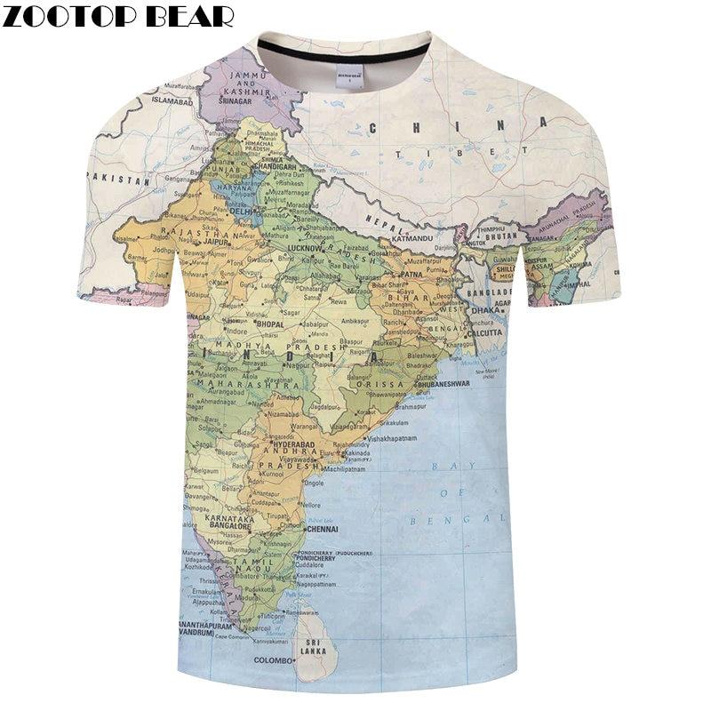 India Map 3D Printed t shirt Travel tshirt Summer Men Vacation Tee Funny Short Sleeve Shirts 6XL Streetwear Dropship ZOOTOPBEAR
