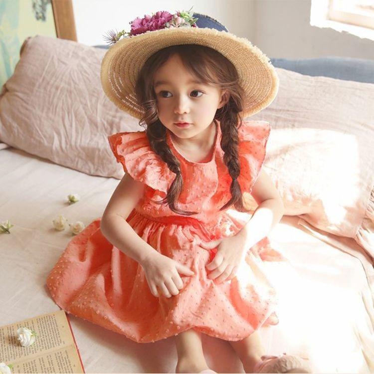 Korean Girl Dress Princess Kids Girl Blouse Ruffles Sweet Kids Clothings Chidren Girl Summer Clothes