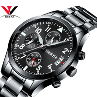NIBOSI Watch Chronograph Mens Watches Top Famous Brand Luxury Clock Mens Watches Military Army Military Watch Men Waterproof