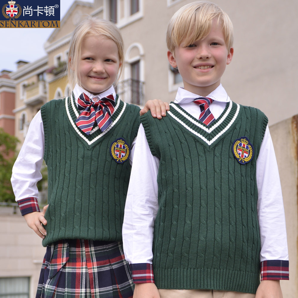 Free shipping 100%cotton school uniform sweater vest,kids ...