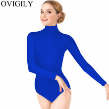 OVIGILY Women Long Sleeve Black Leotard Adults Lycra Spandex Gymnastics Leotards Turtleneck Stage Performance Ballet Dancewear(China)
