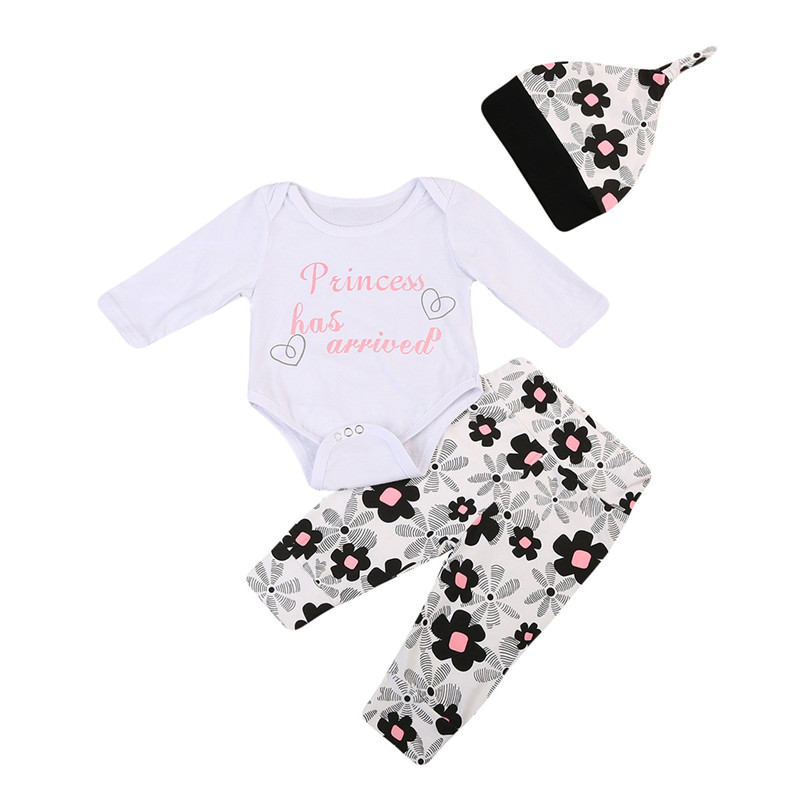 Pudcoco Newborn Baby Girls Clothes Long Sleeve Tops Romper +Pants+Hat 3pcs Outfits Baby Clothing Set