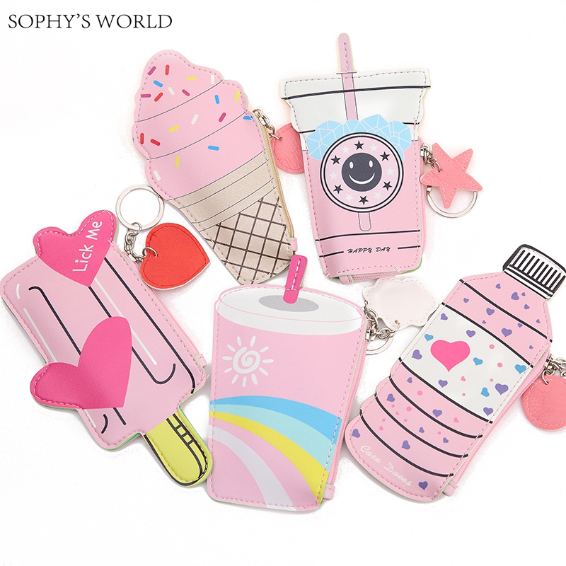 2pc Cartoon Women Purses And Handbags Cute Icecream Bottle Leather Coin Purse Kawaii Children Wallet Small