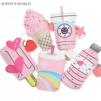 2pc Cartoon Women Purses And Handbags Cute Icecream Bottle Leather Coin Purse Kawaii Children Wallet Small