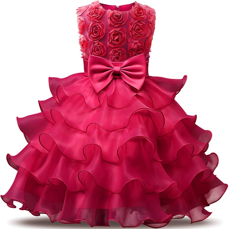 Fashion Formal Newborn Wedding Dress Baby Girl Bow Flower Pattern For Toddler 1 or 2 Years Birthday Party Baptism Dress Clothes
