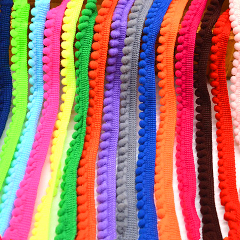 Помпон кружевная бейка красочные помпон отделка мяч ленты мм 10 мм широкий кружевная лента DIY аксессуары для волос бахрома Вышивание 5 ярдов