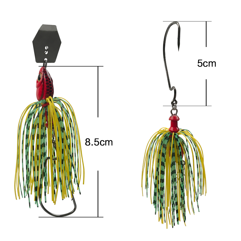 JSM buzzbait chatterbait spinnerbait Lures fishing artificial bait with skirts silicone jig lead head for pike bass fishing-2