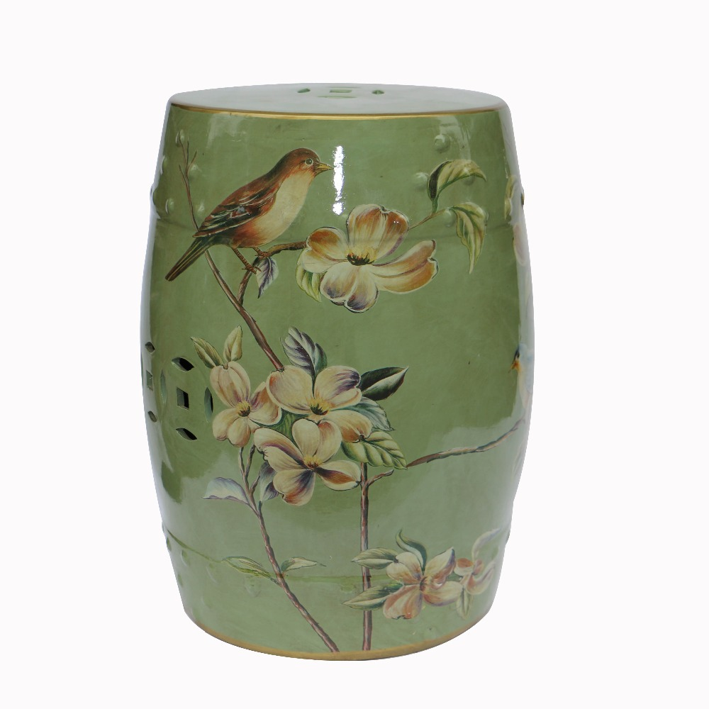 2015 Indoor furniture chinese ceramic garden stools H18inches with flower and bird design