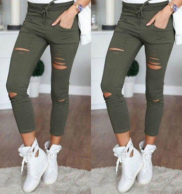 2016 Womens Ladies Ripped Skinny Denim Jeans Cut High Waisted Jegging Trousers Pants Wholesale nvzhuren solid denim jeans for women high waist elastic long skinny slim jeans trousers plus size spring autumn ladies pants