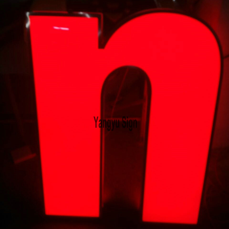Custom acrylic RGB flashing light up letters shop name sign board