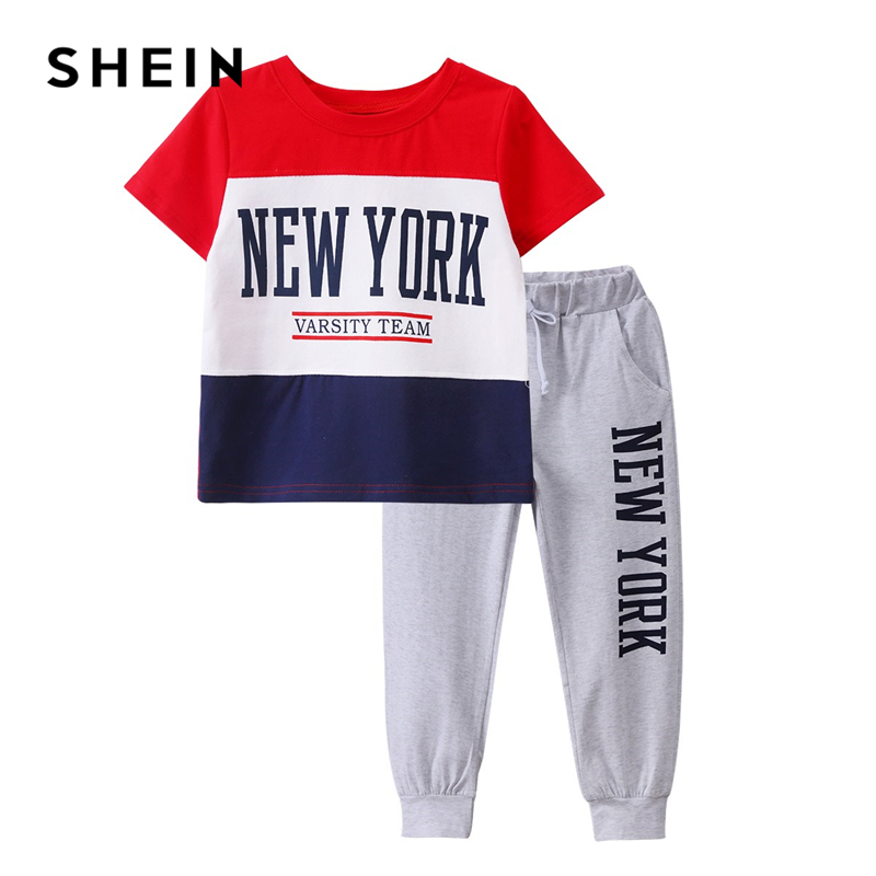 Фото - SHEIN Kiddie Boys Colorblock Letter Print Tee With Elastic Waist Sweatpants 2019 Summer Short Sleeve Active Wear Child Suit Sets letter print tee