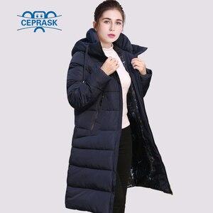 Image 2 - CEPRASK 2020 nowa pogrubienie kurtka zimowa kobiety Parka Plus rozmiar 6XL długi modny damski płaszcz zimowy z kapturem ciepła ocieplana kurtka