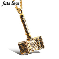New 2016 Men Jewelry Accessories Thor Hammer Pendant Necklace Stainless Steel Biker Vintage Steampunk Gold Plated