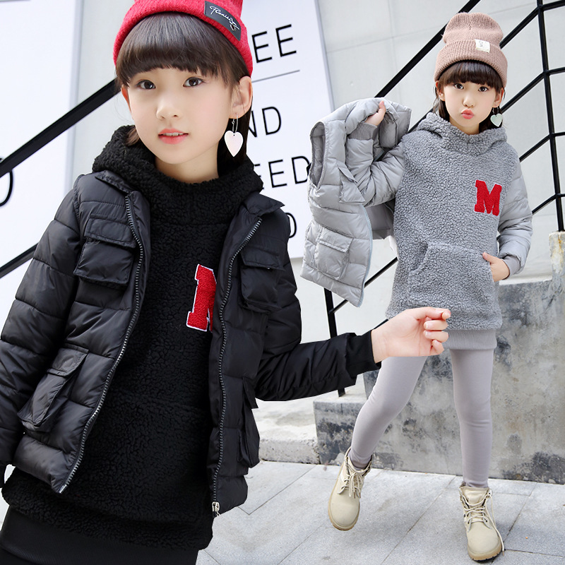 Children clothing set winter clothes warm thick Cashmere hooded swearshirt Three sets for 5 6 7 8 9 10 11 12 13 14 years girl 5 6 7 8 9 10 11 12 13 14 15 years children clothing set teenage girls fashion clothes autumn wear long sleeve sweatshirt skirt