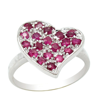 2017 Anillos Qi Xuan_Red Stone Heart Rings_Red Stone Elegant Rings_S925 Solid Sliver Fashion Rings_Manufacturer Directly Sales