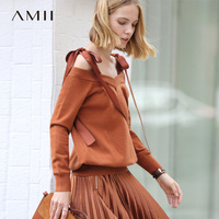 Amii Minimalist Women 2018 Autumn Sweater Stylish Chic Original Design V Neck Spaghetti Strap Female Pullovers Sweaters
