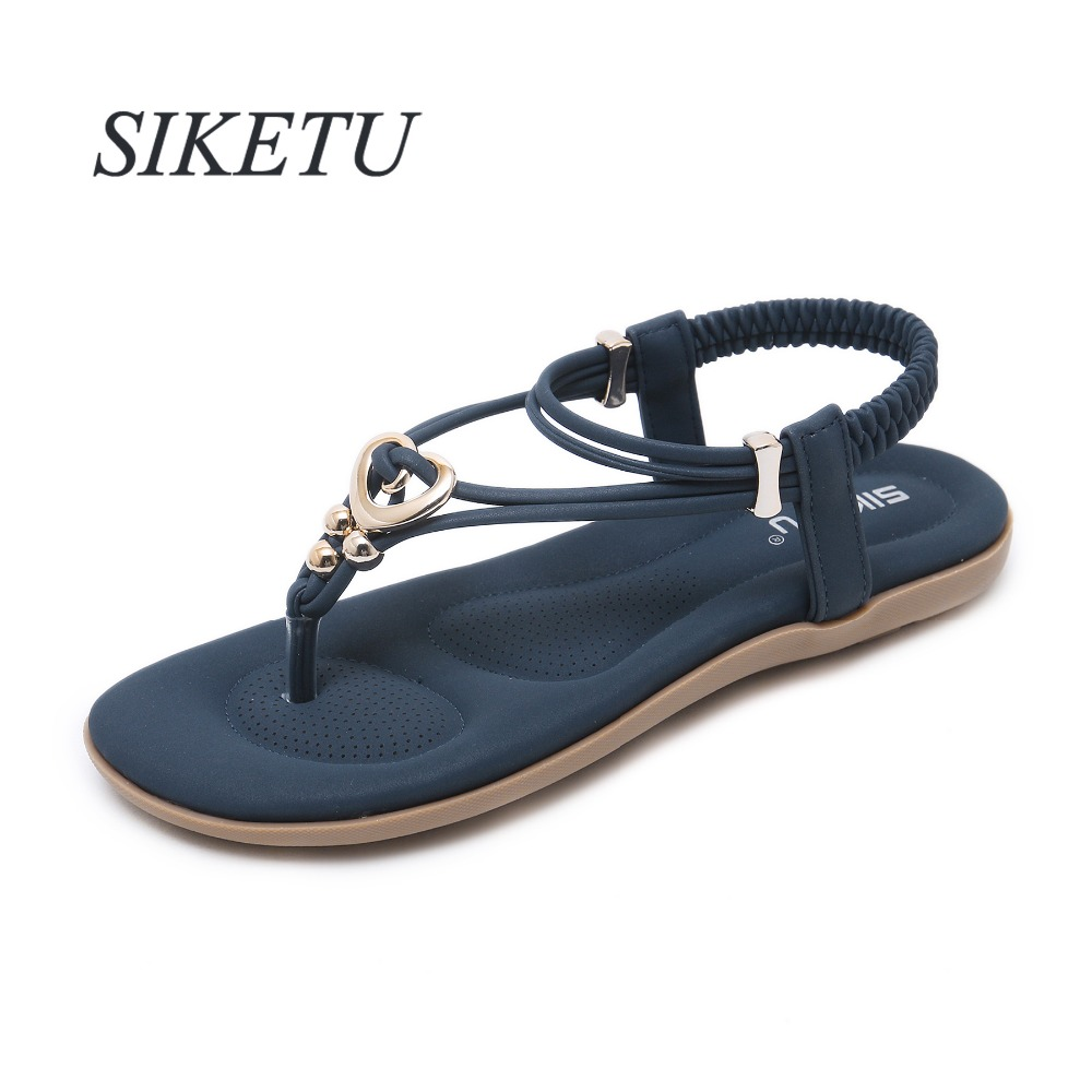 Detail Feedback Questions about SIKETU Gladiator Summer women s Flat Sandals  Metal Decoration Elastic band Concise woman shoes US5 10.5 Blue Purple  Apricot ... 2f09e5cb758e